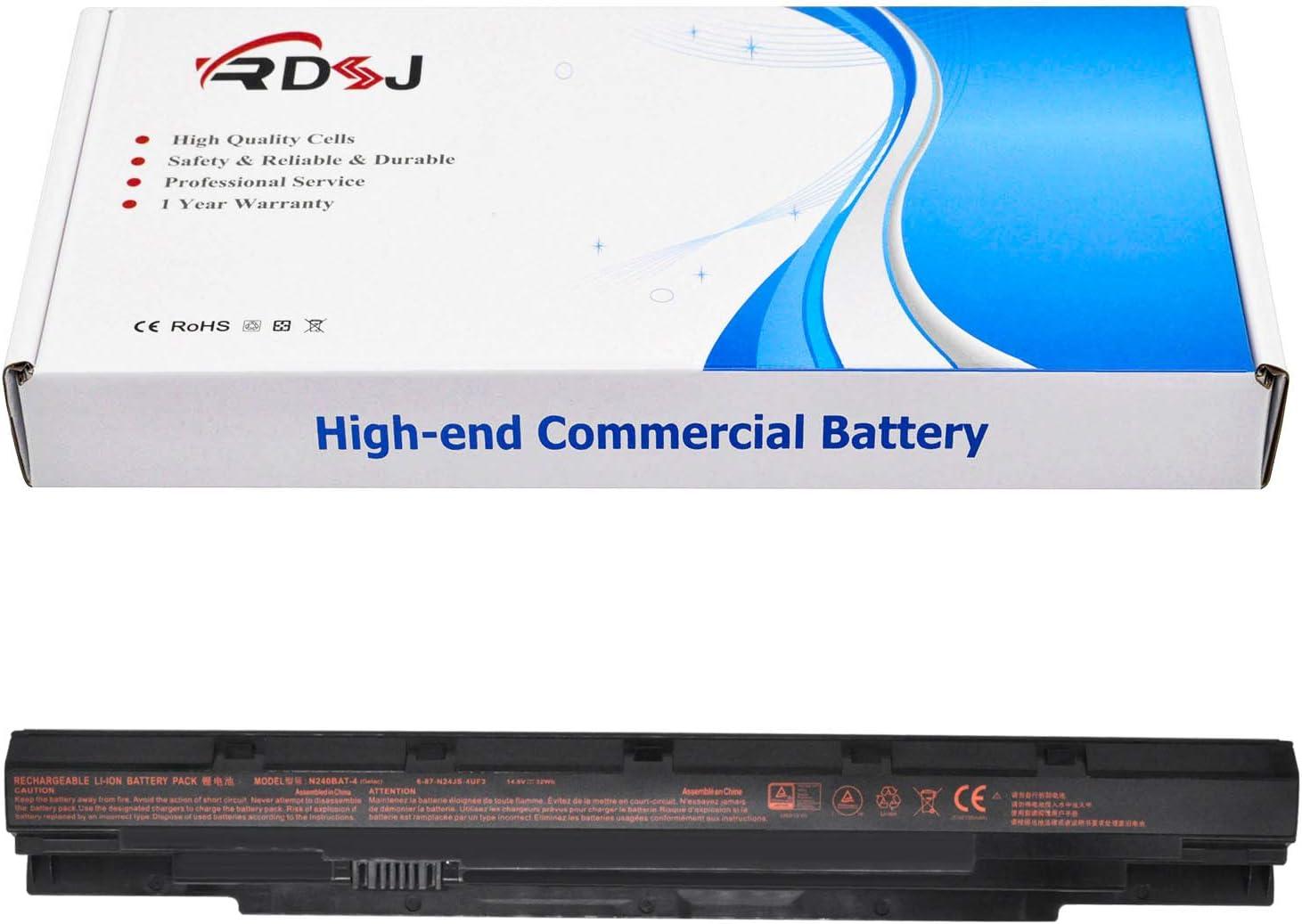 RDSJ Compatible N240BAT-4 N240BAT-3 Battery Replacement for CLEVO N250LU N250JU N240BU N240JU Sager NP3240 NP3245 6-87-N24JS-4UF3 4UF1 6-87-N24JS-42L3 42L2 6-87-N24JS-42L 6-87-N24JS-42F1 42F2