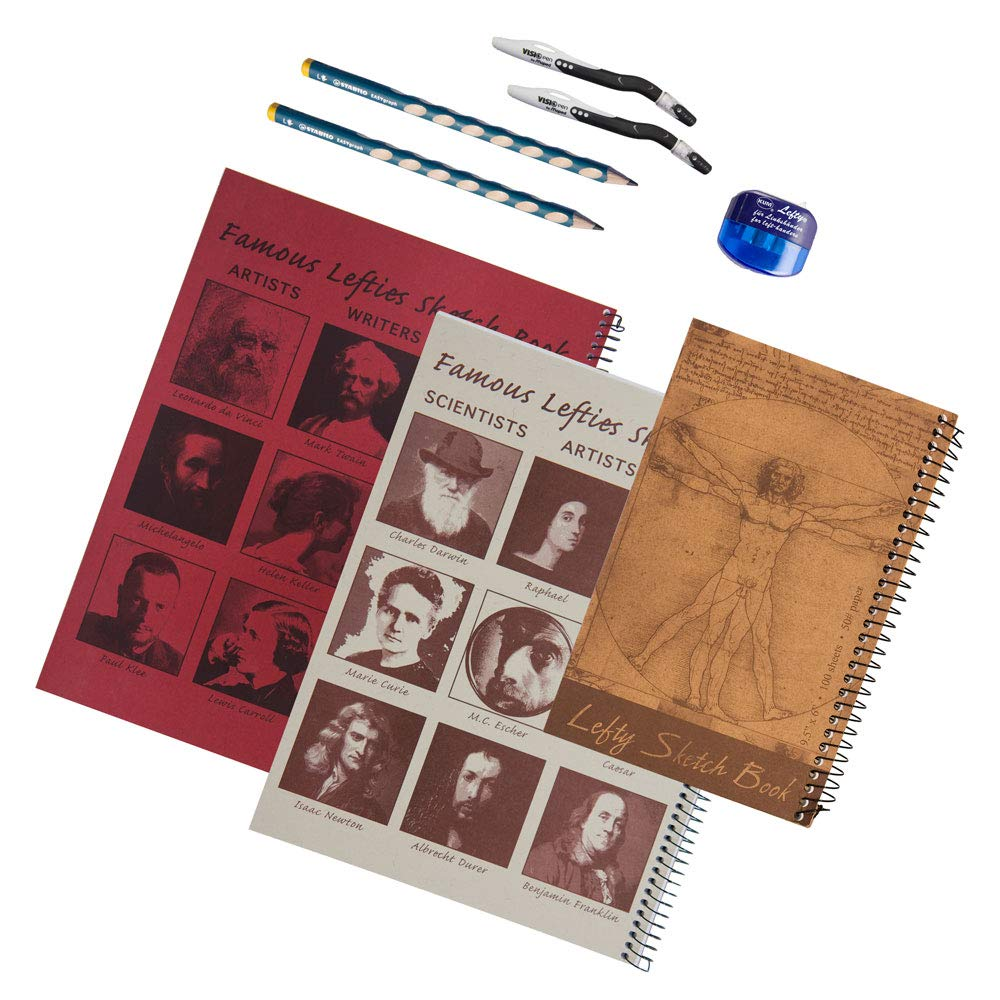 Left-Handed Sketch Books, Maped Pen, Stabilo Pencil and KUM Counter-clockwise Sharpener Set, 8 Pieces