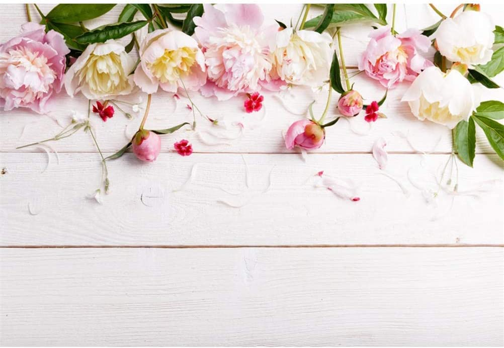 10x6.5ft Polyester Beautiful Peonies Edge Petals Rustic White Wood Plank Backdrops Valentines Day Background Child Adults Girls Lovers Couple Portraits Shoot Wedding Photo Studio Greeting Card
