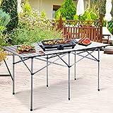 "Giantex Roll Up Portable Folding Camping Square Aluminum Picnic Table w/Bag (55"")"