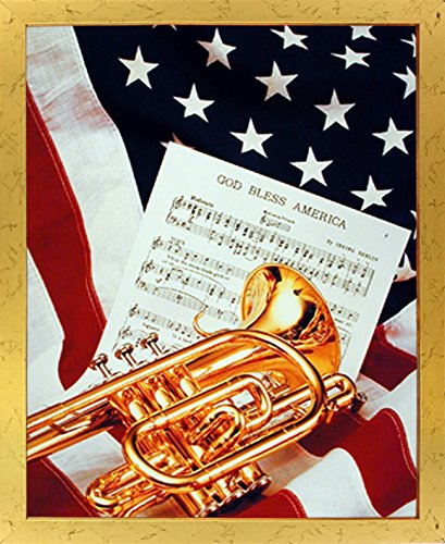 American Trumpet - Impact Posters Gallery Framed Wall Decoration Picture American Trumpet Instrument & Music Sheet Lying on American Flag Patriotic Golden Art Print (18x22)