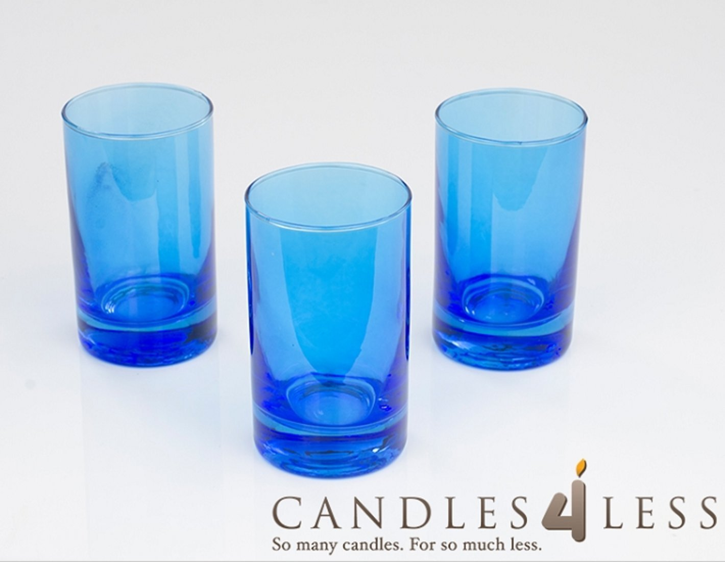 Candles4Less - 4 Inch Tall Blue Votive Holders (Set of 72) Perfect for restaurants, Hotels, Spas and Events