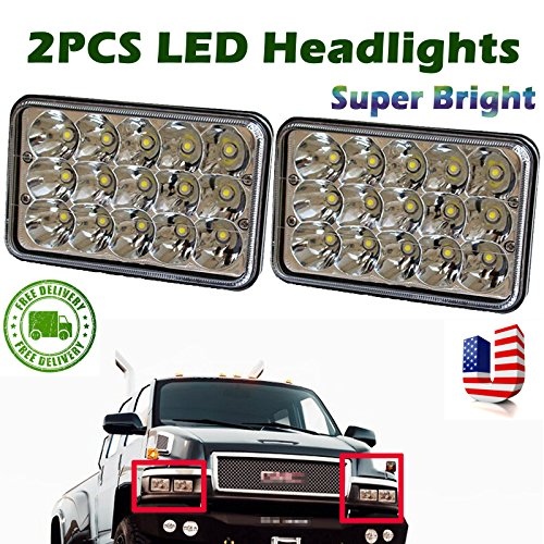 4x6 Inch for GMC C4500 5500 Rectangular LED Headlights Sealed Beam Hi/Lo Double Beam DRL Daytime Driving Lamp Replacement H4651 H4652 H4656 H4666 H6545 2 Pcs -