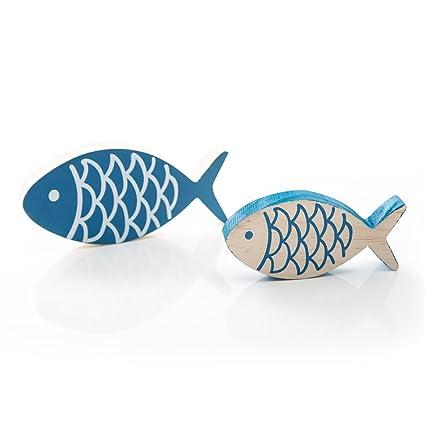 2 Stück bemalte blaue Holz-FISCHE PAAR 13 x 6 cm + 10 x 5 cm, jeweils 1,5  cm stark zum Hinstellen Deko-Fisch Zierfisch … als hübsche maritime ...