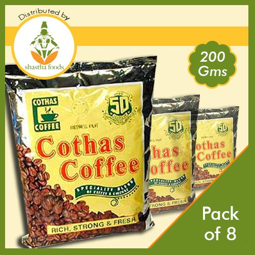 Cothas Coffee South Indian Filter Coffee Powder (Pack of 8) Each 200 Gms - Indian South Filter Coffee