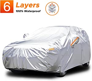 Audew 6 Layers Car Cover Waterproof All Weather Breathable UV Protection Snowproof Waterproof Dustproof Universal Fit Full Car Covers for SUV, Jeep XL(190''-201'')