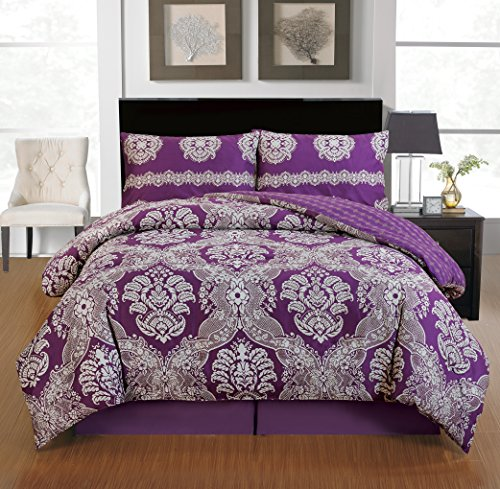 Memory Design Soft Egyptian Cotton Touch 4 Pieces Set Double Sided Reversible Bed Comforter Set, Full Size, Purple