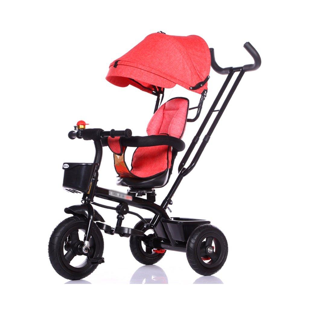 スチール子供の三輪車の自転車1-3-5歳のベビーベビーカーの回転自転車シート自転車 乗用玩具三輪車 (Color : Red-B)  Red-B B07GLW1N2S