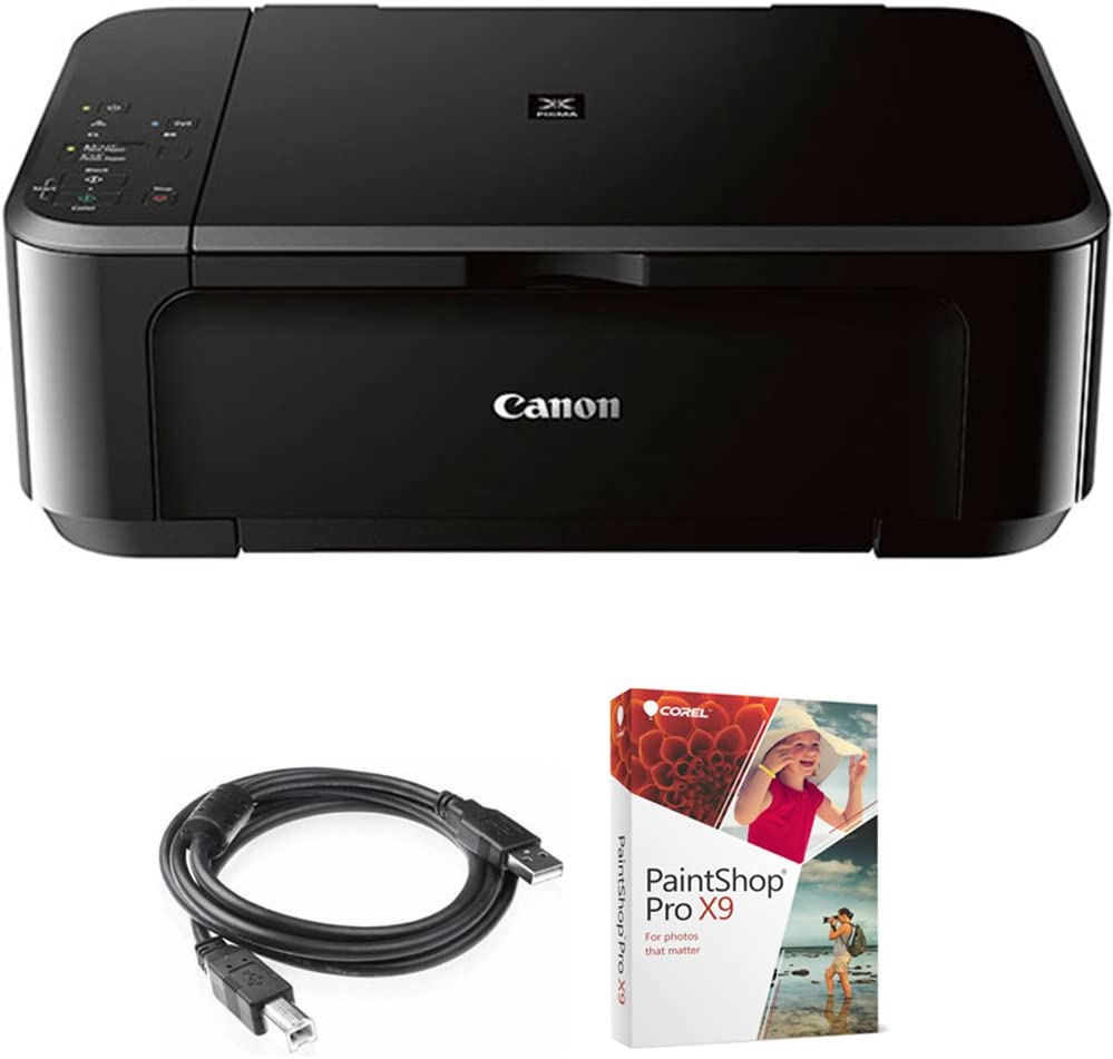 Canon Pixma MG3620 Wireless Inkjet All-in-One Multifunction Printer (0515C002) Bundle with High Speed 6-Foot USB Printer Cable and Corel Paintshop Pro 2018 (Digital Download)