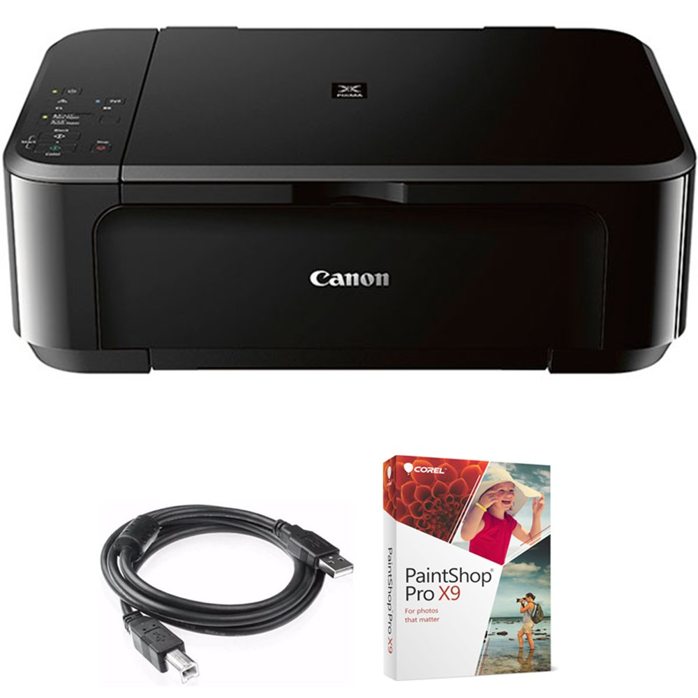 Canon Pixma MG3620 Wireless Inkjet All-In-One Multifunction Printer (0515C002) with High Speed 6-foot USB Printer Cable & Corel Paint Shop Pro X9