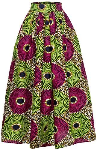 La La Print Skirt - Women African Traditional Costume Ankara Print Skirt Dashiki Long Skirts (Small, B)