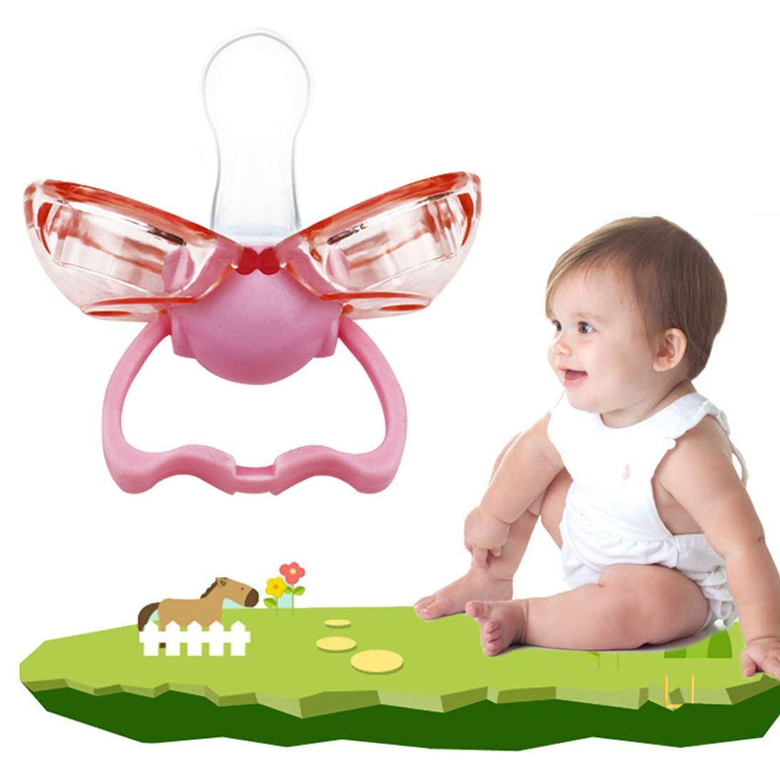 Baynne Silicone Baby Pacifier Lip Mouth Shape Infant Toddler Baby Soother Nipple With Automatically Closed Dust Cover