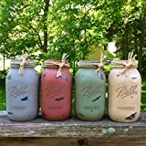 4 Antique Finish Mason Jars, Rustic Mason Jar Centerpiece, Shabby Mason Jar Table Decor, Housewarming Gift. Custom Color Jars and Sizes available! Review
