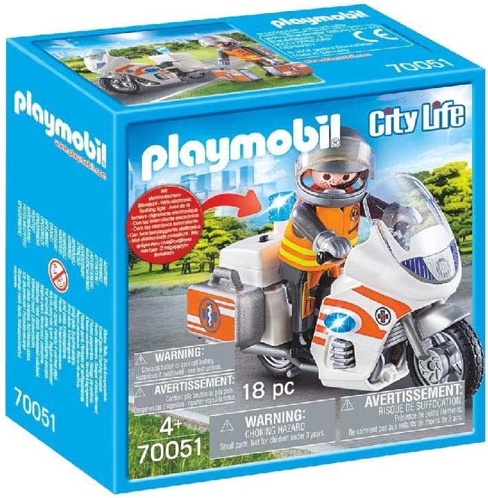 PLAYMOBIL Life City Moto Emergencia, Color carbón (70051)