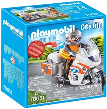 PLAYMOBIL Life City Moto Emergencia, Color carbón (70051): Amazon ...