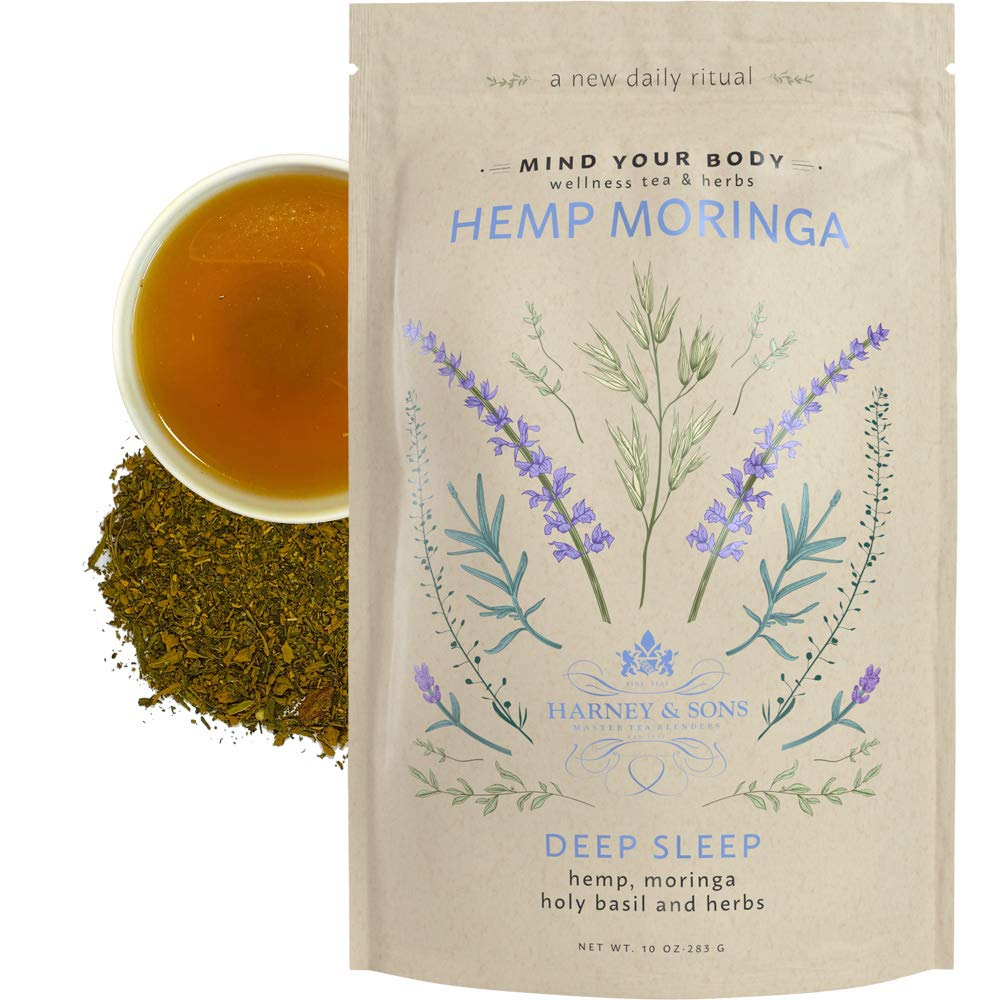 Harney & Sons Hemp Moringa Deep Sleep, Wellness Blend with Hemp, Moringa, Holy Basil & Herbs, 10 oz loose
