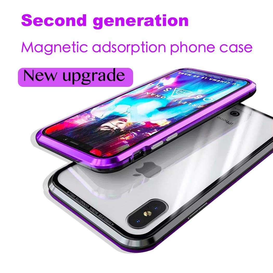 Magnetic Adsorption Case Compatible iPhone X, Metal Bumper Case Compatible iPhone X/10, Clear Case with Tempered Glass Compatible iPhone X,Thin Full Protective Anti-Scratch Cover Phone Case(Purple)