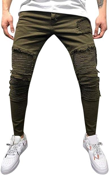 Pantalones Hombre Skinny Roto Pantalones Bombachos Hombre ...