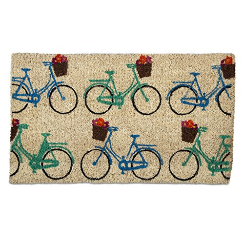 tag - Bicycles Coir Mat, Decorative All-Season Mat for the Front Porch, Patio or Entryway, Multi