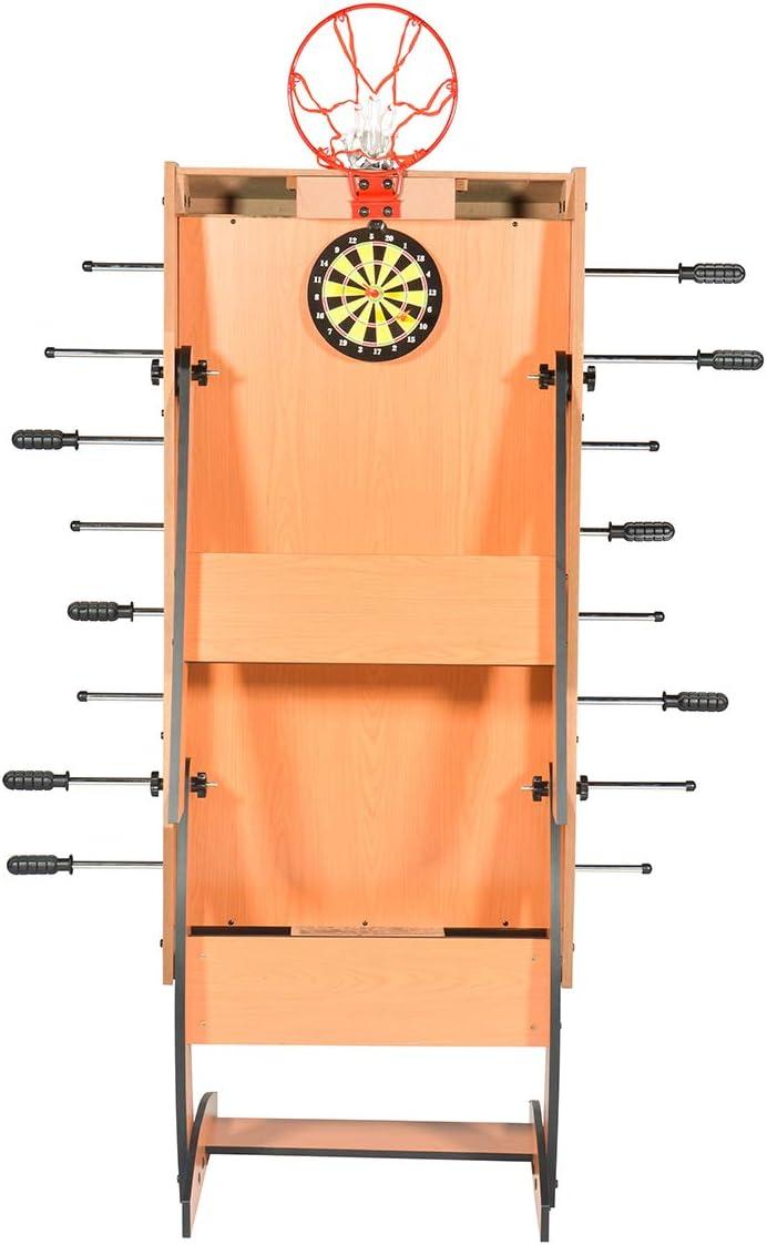Mesa 3 juegos en 1 plegable Futbolín- Basquetbol - Dardos, 122 x 61 x 82 cm: Amazon.es: Juguetes y juegos