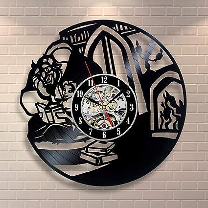 ZY&DD La Bella Y La Bestia Reloj Vinilo,Reloj De Pared Retro,Reloj De