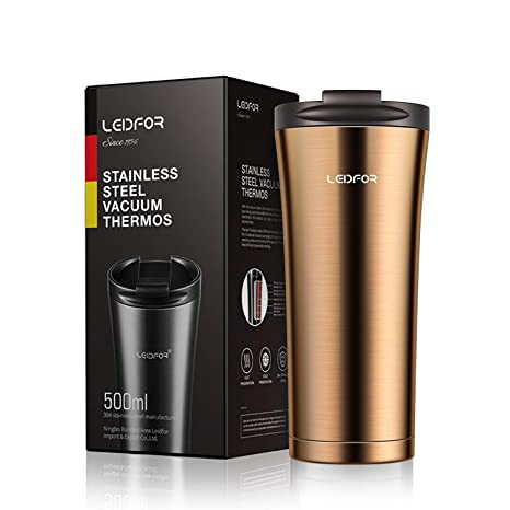 1158cd11900 Amazon.com: Leidfor Insulated Tumbler Coffee Travel Mug Vacuum Insulation  Stainless Steel with Lid Leakproof 17oz Glod: Kitchen & Dining