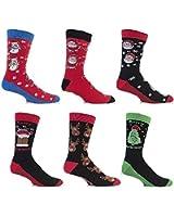 3 Pairs Mens Festive Feet Novelty Christmas Socks 6-11 UK 39-45 EUR (Style May Vary)