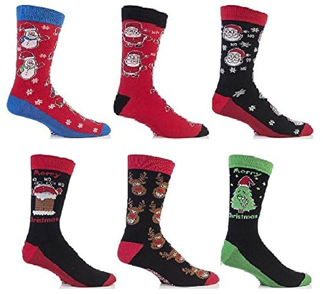 le style peut varier Festive Feet 3 paires chaussettes de no/ël festif mod/èle homme 6-11 UK 39-45 EUR