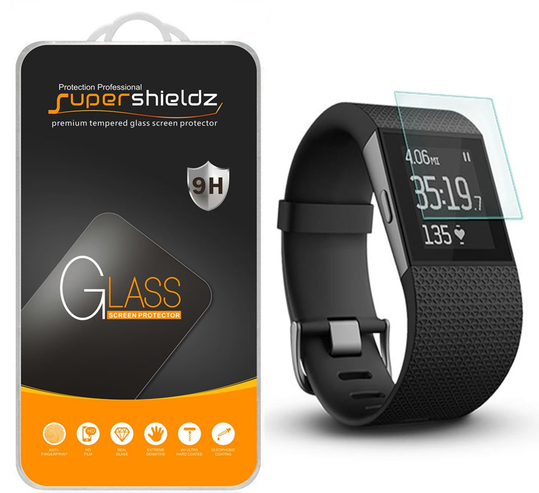 [3-Pack] Supershieldz for Fitbit Surge Fitness Superwatch Tempered Glass Screen Protector, Anti-Scratch, Anti-Fingerprint, Bubble Free