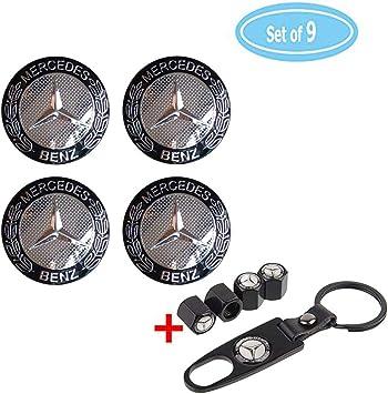 Fubai Auto Parts 4 Pack for Benz Wheel Center Caps Emblem-Black 4 Pack Valve Covers Fit for Mercedes Benz All Models Benz Emblem 56mm 2.2 Benz Rim Hub Emblem Badge Sticker 56MM//2.22