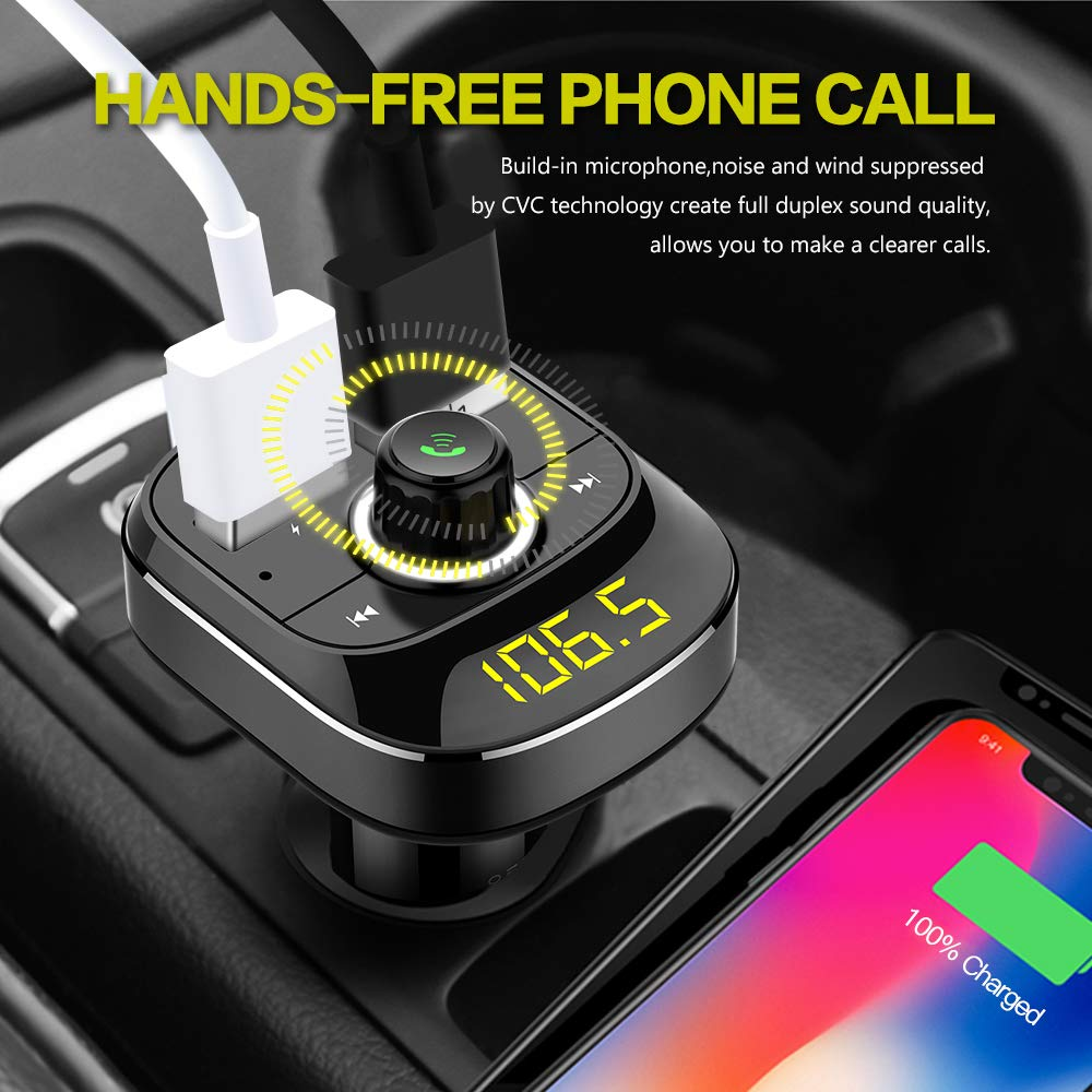 soyond Bluetooth/ FM/ Transmitter/ for/ Car Wireless FM Radio Transmitter Bluetooth Receiver Adapter Hands-Free Calling Car Kit with Dual USB Quick Charging Ports Support USB Drive MP3 Player TF Card