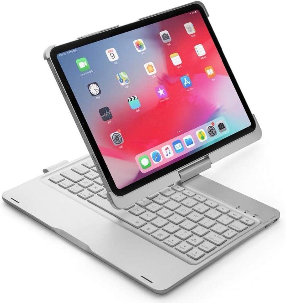 Color : Silver QYLLXSYY Smart Wireless Bluetooth Keyboard Tablet Case 360 Rotation Keyboard Cover Ultra-Thin Keyboard