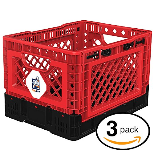 BIGANT Heavy Duty Collapsible & Stackable Plastic Milk Crate - IP403026, 26 Quarts, Small Size, Red, Set of 3, Snap Lock Foldable Industrial Garage Storage Bin Container Utility Basket