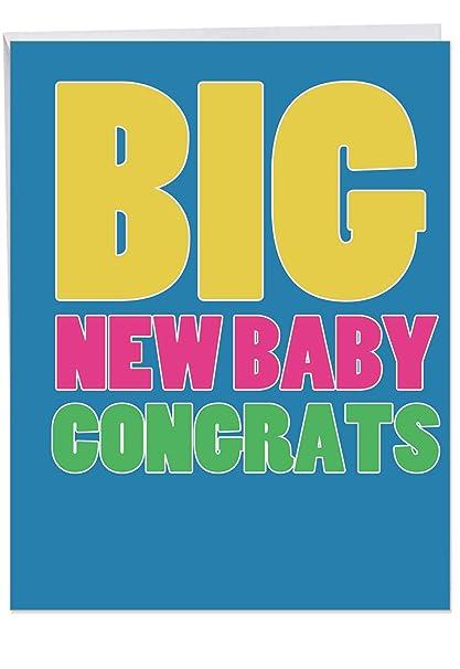 Amazon Com Large Newborn Baby Congratulations Card W Envelope