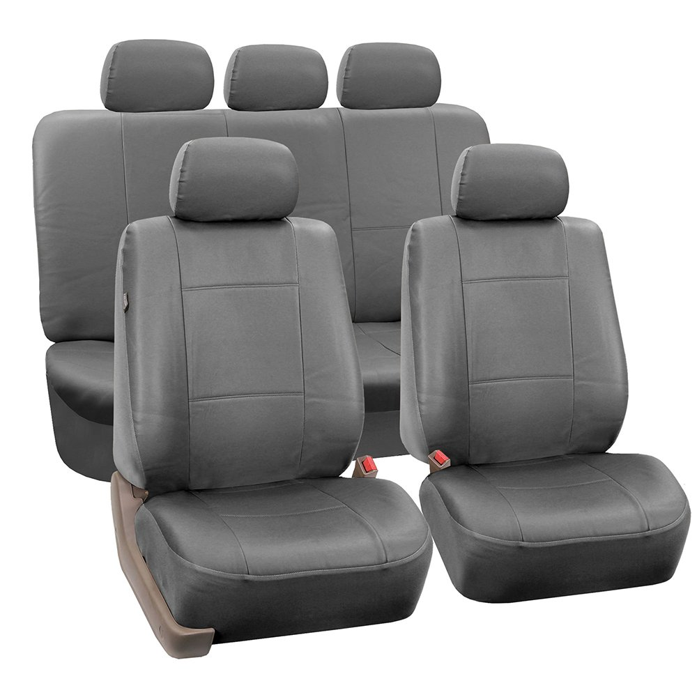 FH Group PU002SOLIDGRAY115 Gray Faux Leather Split Bench Auto Seat Cover (Full Set Airbags Compatible and Split Bench Cover) by FH Group