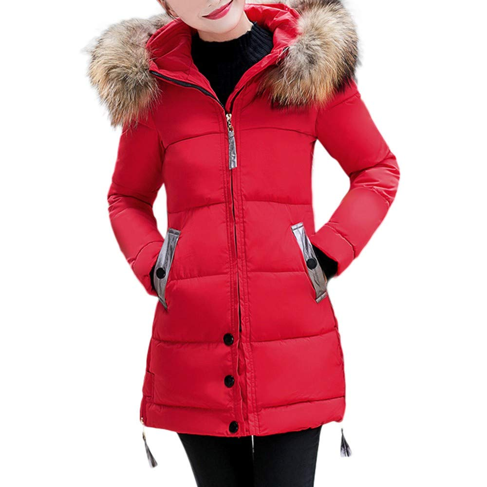 CHIDY Womens Slim Hooded Down Jacket Solid Zip Up Outwear Button Pockets Coat with Faux Fur Trim Hood(XX-Large,Red) by CHIDY