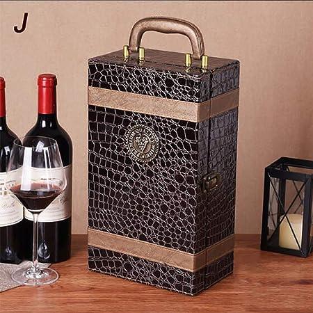2 Botellas De Cajas De Cuero De Vino Tinto, Caja De Almacenamiento, Caja De Vino, Con Cuatro Accesorios Para Vino, 2 X 750 Ml,J: Amazon.es: Hogar