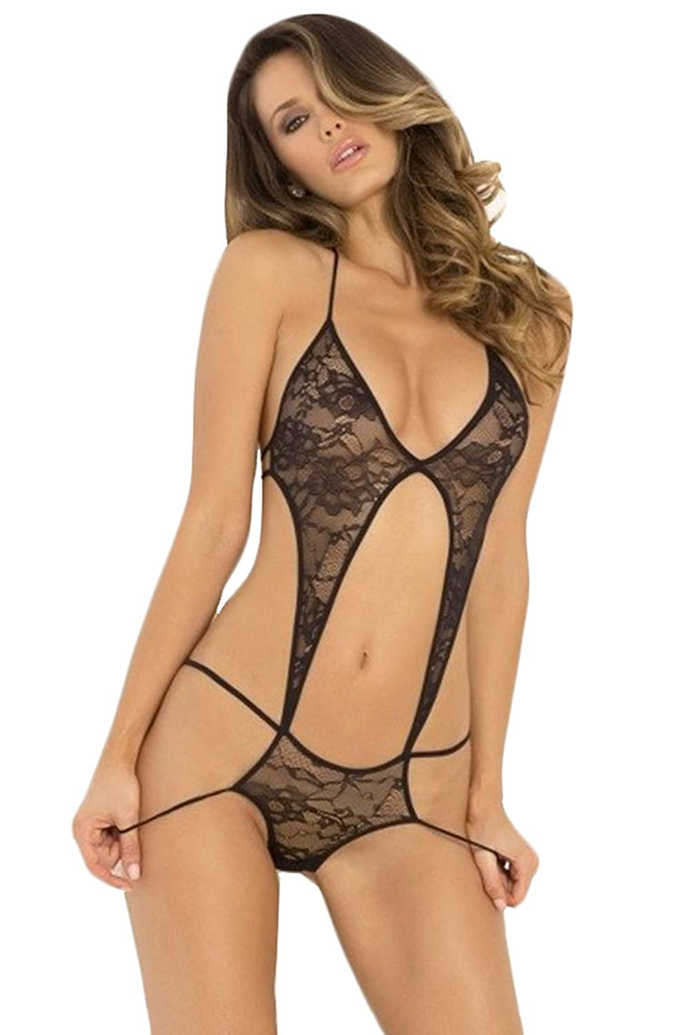 0a31c73cb Amazon.com  Anemone Women s Lingerie Sexy Stage Door One Piece Black Lacy  Bodysuit
