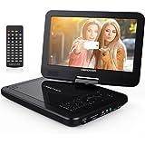 """10.5"""" Tragbarer DVD-Player, 4 Stunden Akku, 1024*600 Digital TFT Schwenkbaren Bildschirm, unterstützt SD-Karte und USB (Schwarz)"""