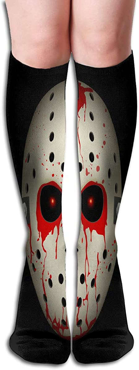 Womens Fancy Design Stocking Bloody Hockey Mask On Black For Design Multi Colorful Knee High Socks 19.6 Inches