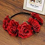 Fashion Women Bride Floral Headband Bohemian Style Rose Flower Crown Headband Ladies Elastic Hair Band Beach Hair Accessories Red