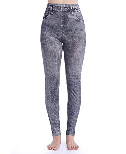 5e5562d06 SAYFUT Women s Denim Print Fake Jeans Seamless Full Length Summer Spring  Leggings Black