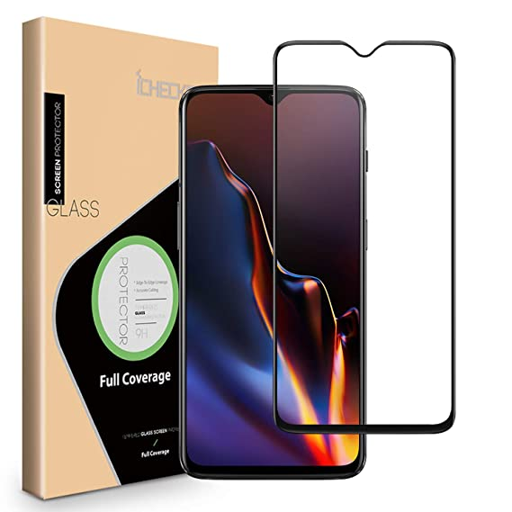 new style df177 0dbcf OnePlus 6T Screen Protector - ICHECKEY [Full Adhesive] [3D Full Coverage ]  Tempered Glass Screen Cover Shield for OnePlus 6T - Black