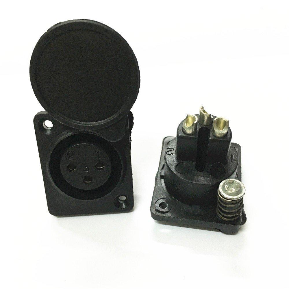 hogadget 2個XLR 3ピン防水メスシャーシパネルマウントソケットアダプタはんだ付マイクコネクタ電源のブラック B07BH1QKW7