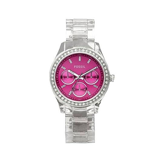 Fossil ES2604 - Reloj analógico de Cuarzo para Mujer con Correa de plástico, Color Transparente: Fossil: Amazon.es: Relojes