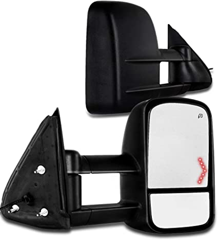 SCITOO Towing Mirrors fit Chevy GMC Pickup Truck GM1320355 GM1321355 2003-2007 Chevy GMC Silverado Sierra Power Heated Signal Telescopic Pair Mirrors