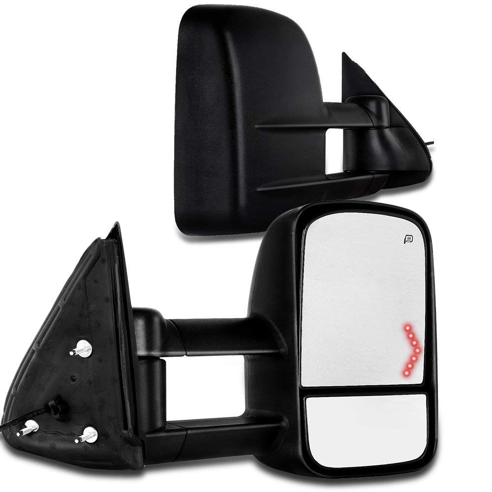 SCITOO Chevy GMC Towing Mirrors Pair Rear View Mirrors fit 2003-2007 Chevy GMC Silverado Sierra (07 Classic Models) with Power Control Heated Turn Signal Manual Telescoping and Folding Feature by SCITOO