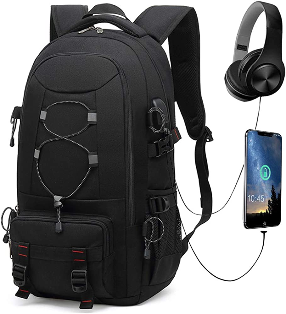 Travel Laptop Backpack, 45L Hiking Backpacks Carry On Bag, Durable Backpack Fit for 17.3 Inch Computer ,Business Backpacks for Women Men