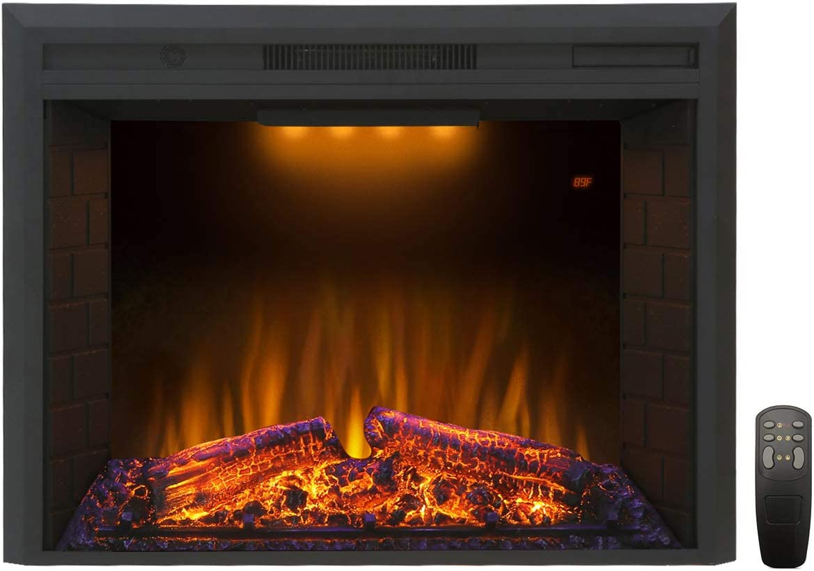 Valuxhome Houselux 30 Inches Fireplace Insert Electric Fireplace Heater with Log Speaker, 1500W, Remote Control, Black