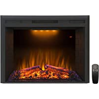 Valuxhome Electric Fireplace, 30 Inches Electric Fireplace Insert, Fireplace Heater with Overheating Protection, Fire Crackling Sound, Remote Control, 750/1500W, Black